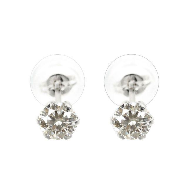 ダイヤモンド 1粒 6本爪 ピアス 天然ダイヤモンド 計0.4ct PT900 プラチナ