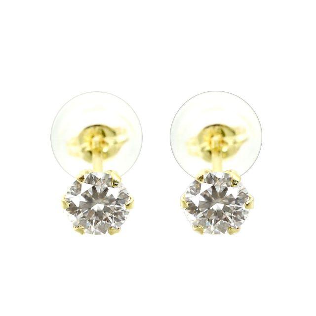 ダイヤモンド 1粒 6本爪 ピアス 天然ダイヤモンド 計0.4ct K18 ゴールド