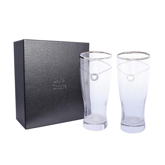ララクリスティーのビアグラスペア プラチナ スワロフスキー・クリスタルが煌めく ビールグラス