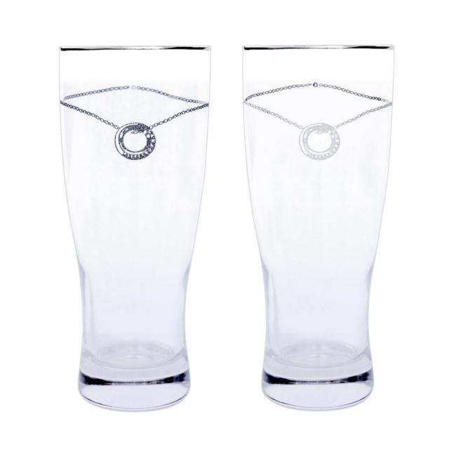 ペアグラス ビア タンブラー プラチナ 縁巻き スワロフスキー・クリスタル グラス タンブラー セット