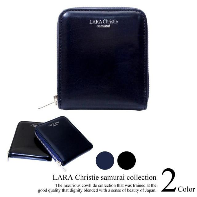 LARA Christie (ララクリスティー) samurai ラウンド ジップ スリム 二つ折り ウォレット 短財布 ll74-0007