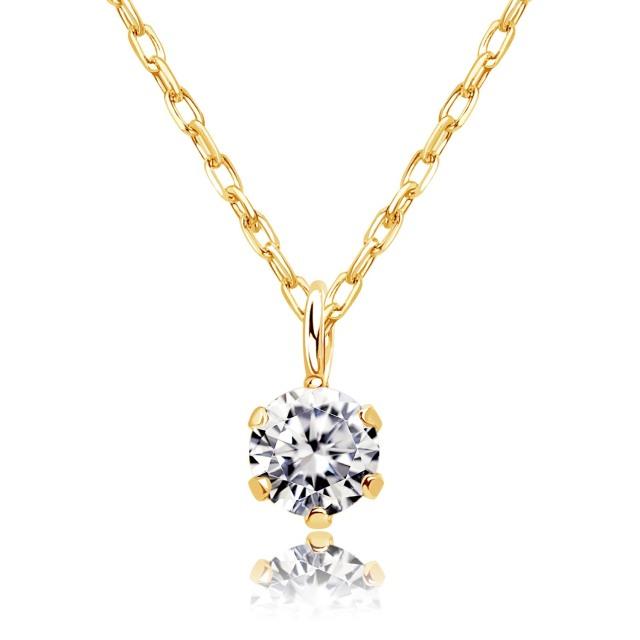 ダイヤモンド ネックレス ソリティア 0.1ct 1粒 ゴールド K18YG