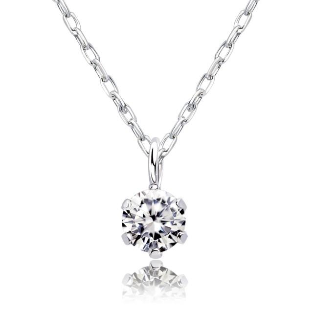ララクリスティー PT900 ソリティア ダイヤモンド ネックレス 0.1ct 一粒 lp51-0001-pt