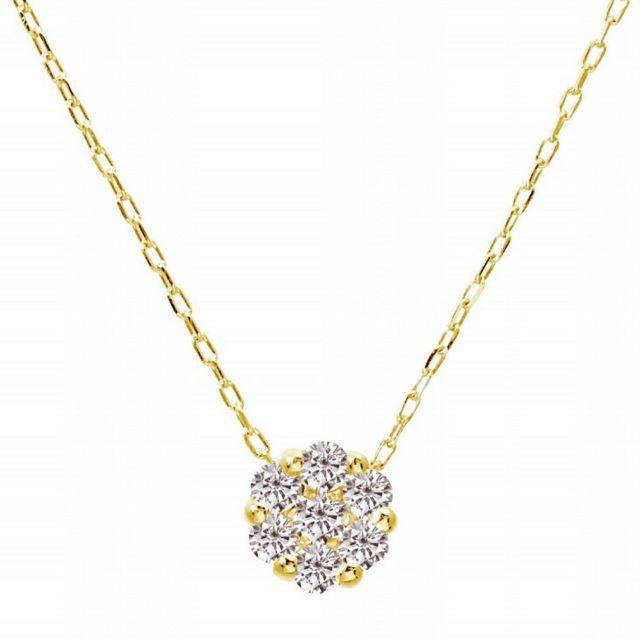 1粒 ダイヤモンド 0.1ct ダリア フラワー ネックレス ゴールド K18YG