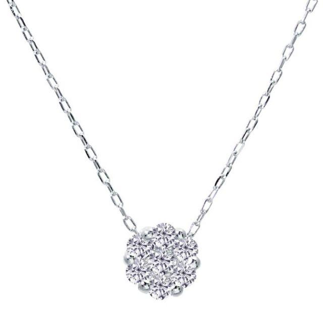 1粒 ダイヤモンド 0.1ct フラワー ネックレス プラチナ Pt900
