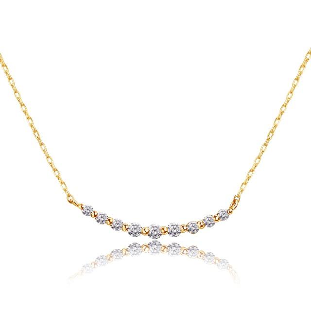 ダイヤモンド 0.1ct スマイル ライン ネックレス ゴールド K18YG