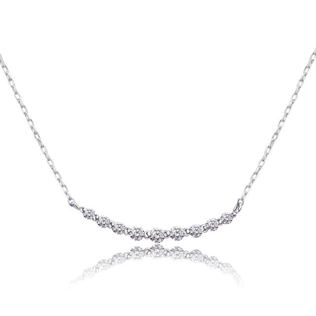 ダイヤモンド 0.1ct スマイル ライン ネックレス