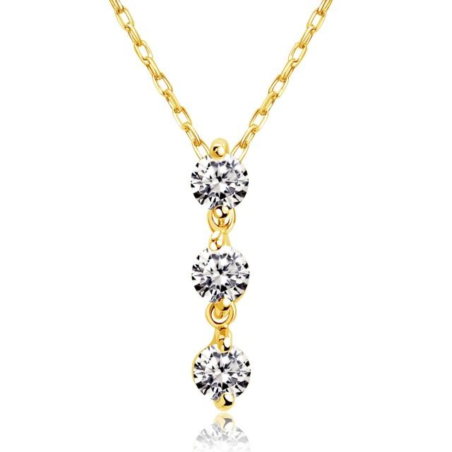 ダイヤモンド 0.1ct トリロジー ネックレス ゴールド K18YG ララクリスティー