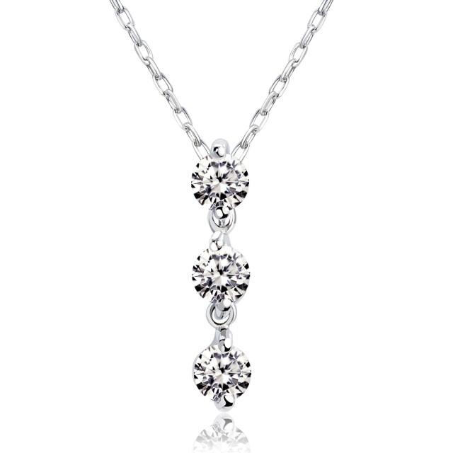 ダイヤモンド 0.1ct スリーストーン ネックレス