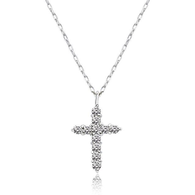 ダイヤモンド 0.1ct スター クロス ネックレス
