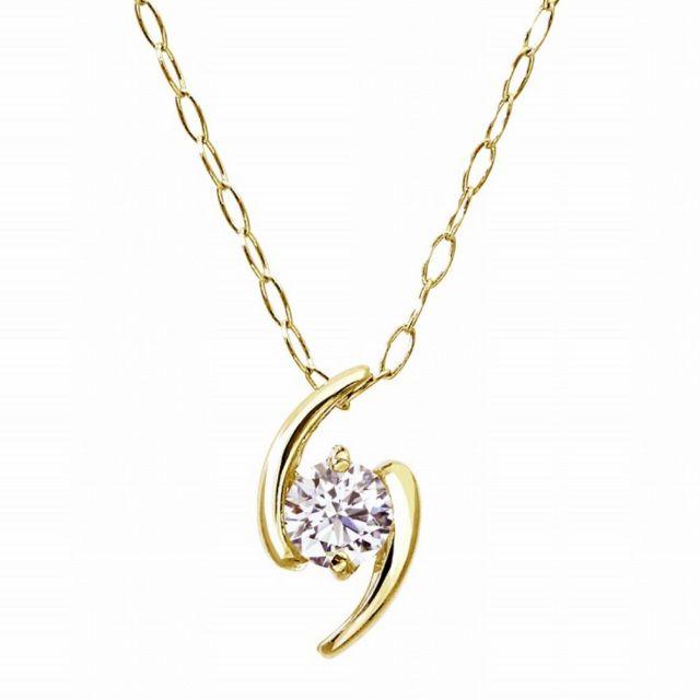 1粒 ダイヤモンド 0.1ct サターン ネックレス ゴールド K18YG ララクリスティー