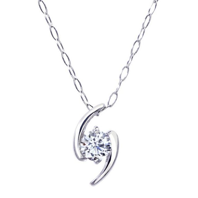 1粒 ダイヤモンド 0.1ct サターン ネックレス