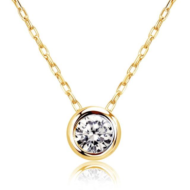 1粒 ダイヤモンド 0.1ct フクリン サニー ネックレス ゴールド K18YG