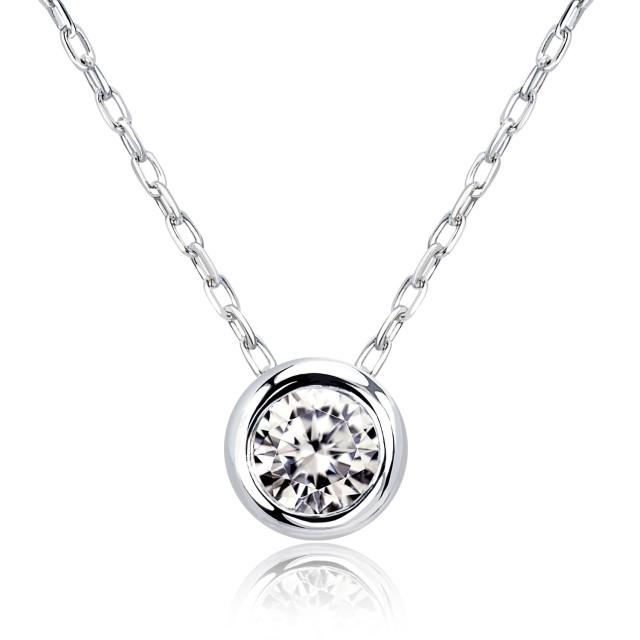 1粒 ダイヤモンド 0.1ct フクリン ネックレス プラチナ Pt900