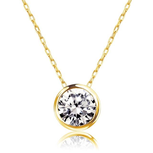 1粒 ダイヤモンド 0.3ct フクリン ネックレス ゴールド K18YG