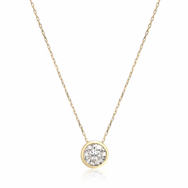 1粒 ダイヤモンド 0.5ct フクリン ネックレス ゴールド K18YG