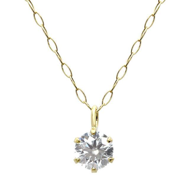 18金 イエローゴールド ダイヤモンド ネックレス 0.2ct K18 イエローゴールド