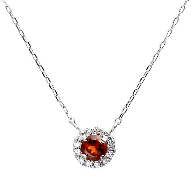 ダイヤモンドネックレス 0.1ct PT950プラチナ ガーネット