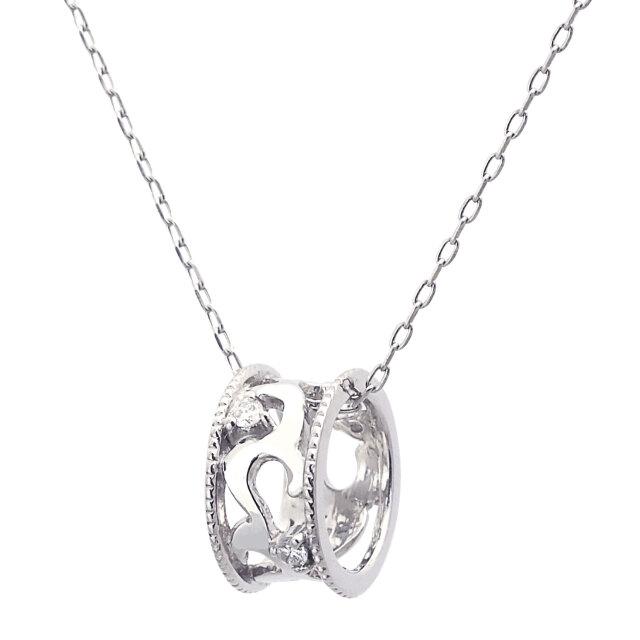ネックレス レディース 天然ダイヤモンド 0.02ct PT950 アラベスクリング
