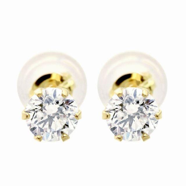 ダイヤモンド ピアス 0.5ct 1粒 ゴールド K18YG
