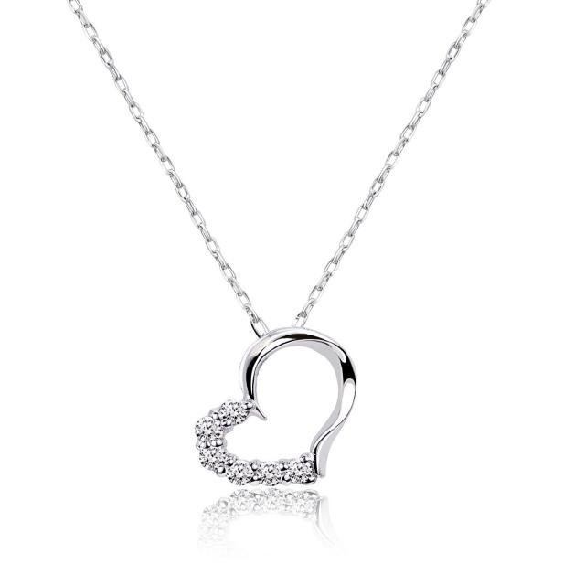 ダイヤモンド ネックレス 0.1ct ハート プラチナ Pt900 ララクリスティー