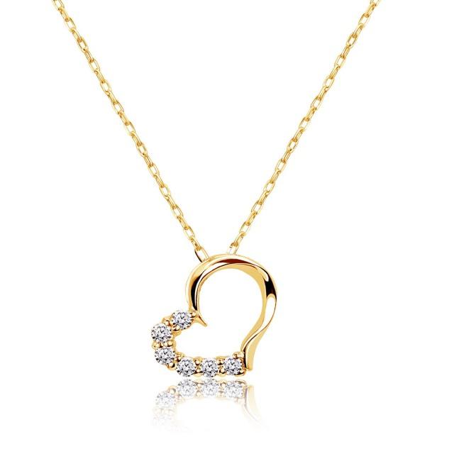 ダイヤモンド ネックレス 0.1ct ハート イエローゴールド K18 ララクリスティー