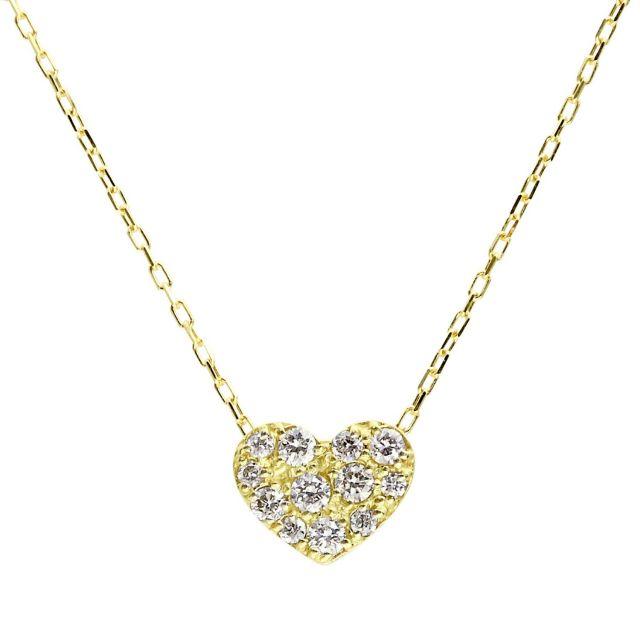 ダイヤモンド ネックレス 0.1ct パヴェ ハート イエローゴールド K18