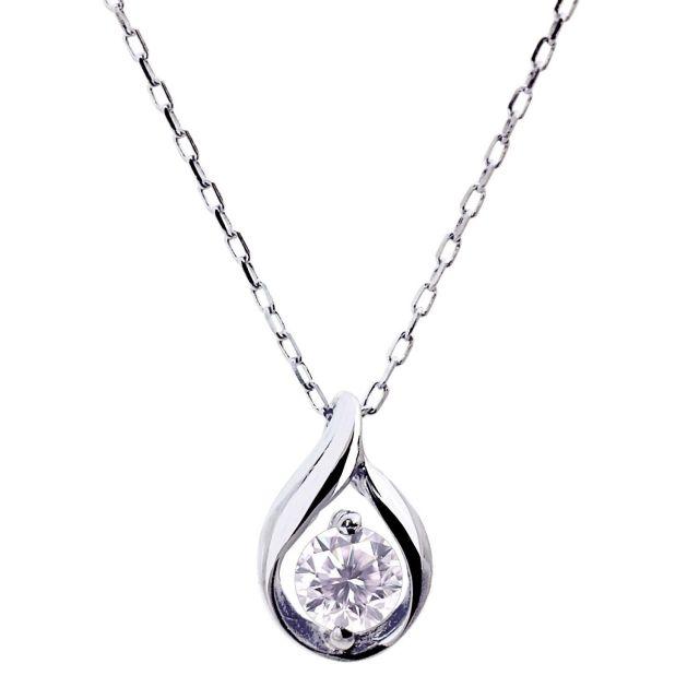 ダイヤモンド 0.1ct デザイン1粒 ネックレス PT900 プラチナ lp71-0010-pt ララクリスティー