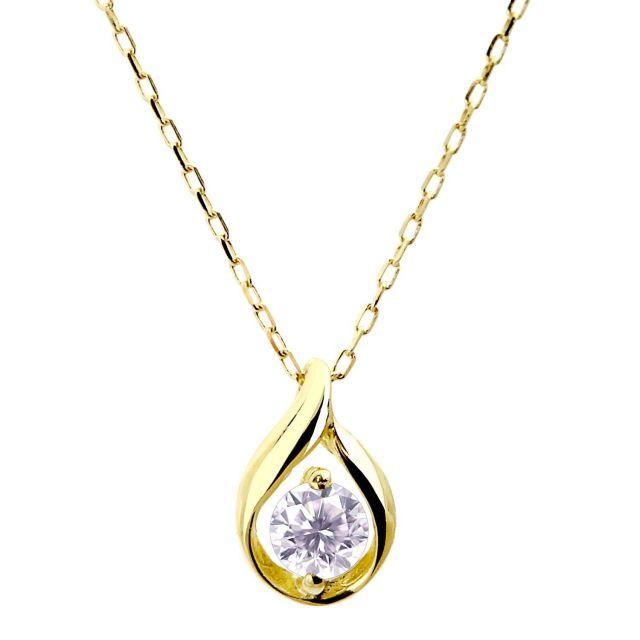 ダイヤモンド 0.1ct デザイン1粒 ネックレス 18金ゴールド K18 lp71-0010-yg ララクリスティー