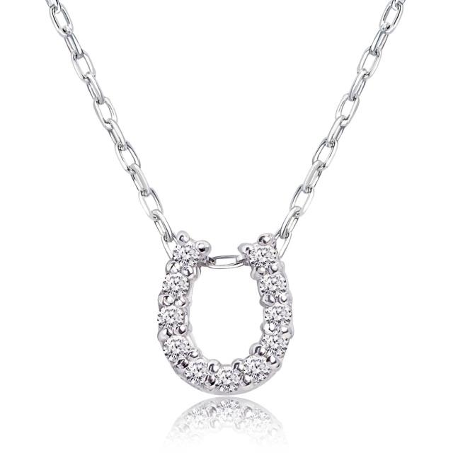 ダイヤモンド ホースシュー ネックレス 11石 0.1ct PT900 プラチナ
