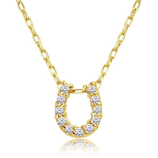 ダイヤモンド ホースシュー ネックレス 11石 0.1ct K18 イエローゴールド