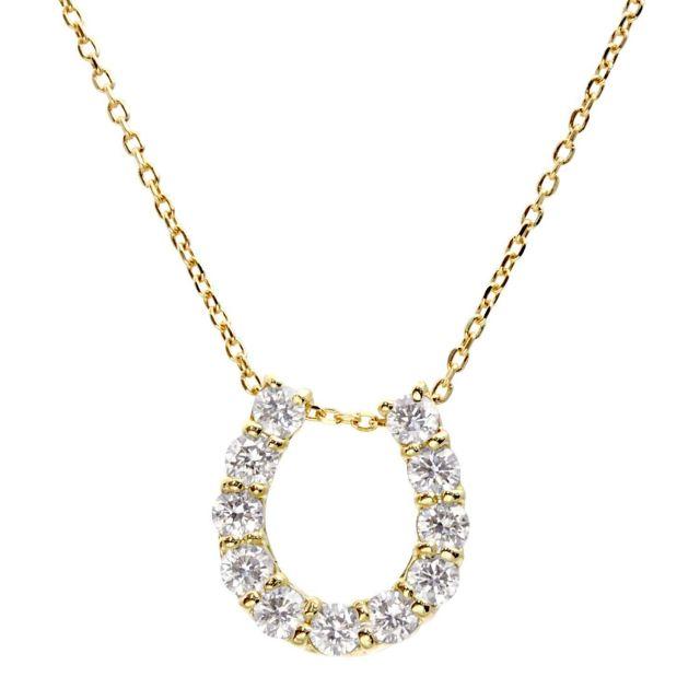 ダイヤモンド ホースシュー ネックレス 11石 0.5ct K18 イエローゴールド