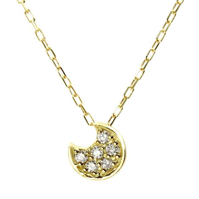 ダイヤモンド ムーン ネックレス 0.06ct K18 イエローゴールド