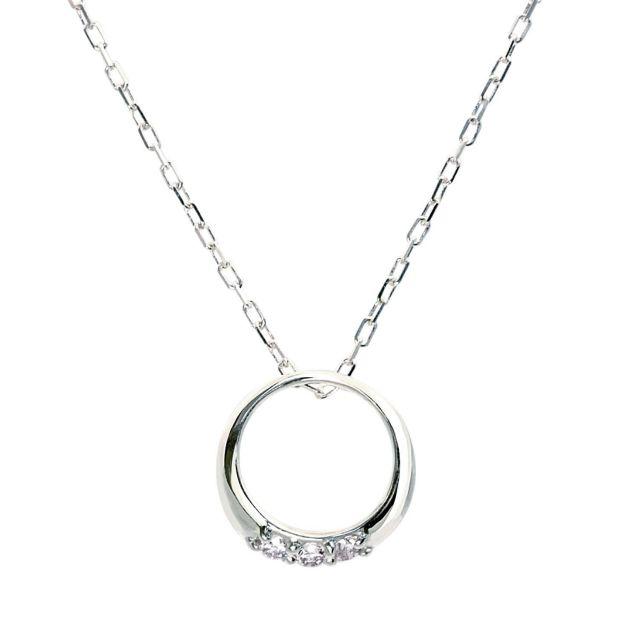 ダイヤモンド サークル ネックレス 3石 0.05ct PT900 プラチナ
