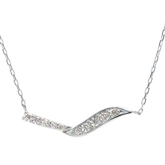 ダイヤモンド ウェーブ ネックレス 10石計0.2ct PT900 プラチナ