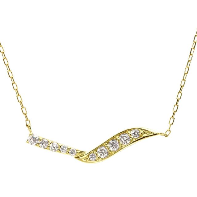 ダイヤモンド ウェーブ ネックレス 10石計0.2ct K18 イエローゴールド
