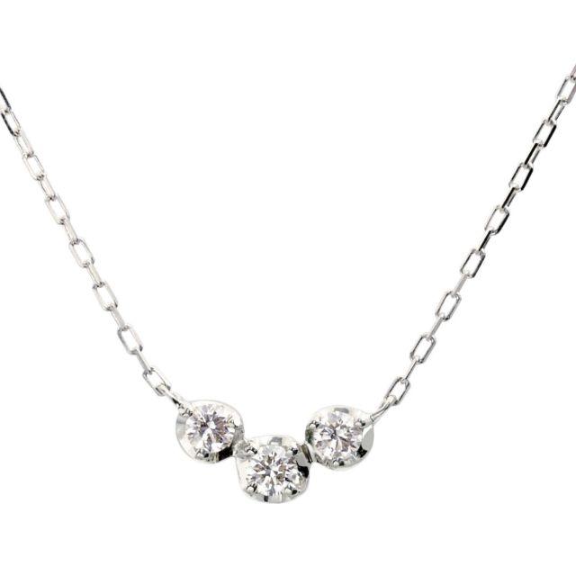 ダイヤモンド スリーストーン ネックレス 3石 0.15ct PT900 プラチナ