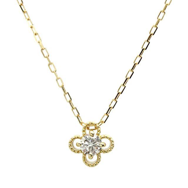 18金 イエローゴールド ダイヤモンド ネックレス 0.1ct K18 lp71-0021-yg