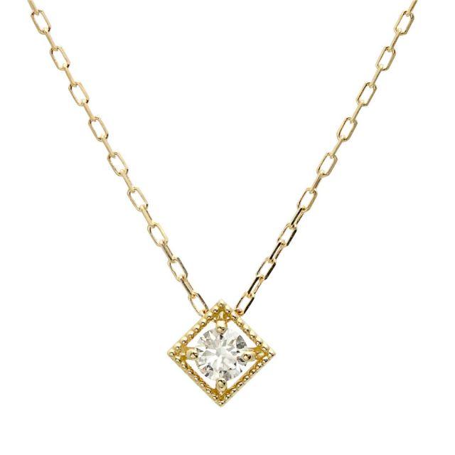 18金 イエローゴールド ダイヤモンド ネックレス 0.1ct K18 lp71-0022-yg