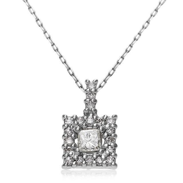 ダイヤモンドネックレス Pt900 プラチナスクエアダイヤ 0.15ct  lpi51-0011-pt