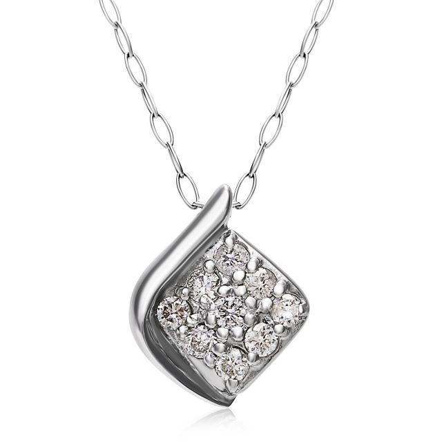 ダイヤモンドネックレス Pt900 プラチナデザイン ダイヤ 0.1ct  lpi51-0015-pt