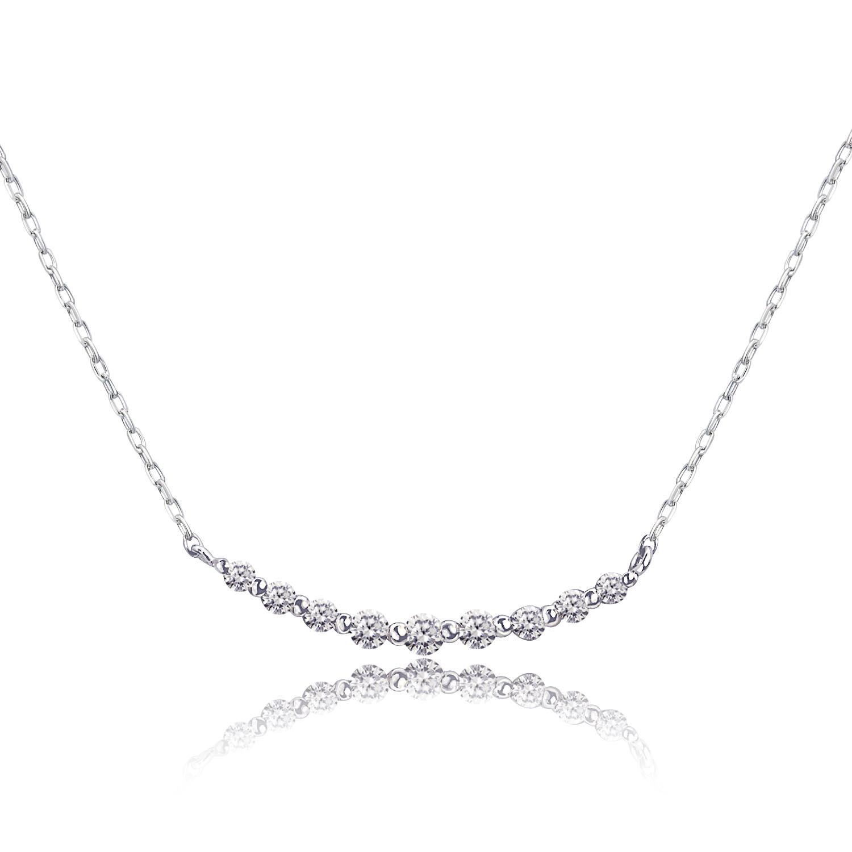 ダイヤモンド 0.1ct スマイル ライン ネックレス プラチナ Pt900 ララクリスティー
