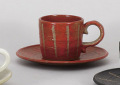 彫十草(赤)コーヒー碗皿