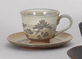 古萩彫蘭コーヒー碗皿