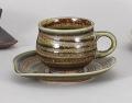 織部渦巻ダルマ型コーヒー碗皿