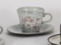 ピンク桜粉引反型コーヒー碗皿