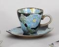 青いボタンコーヒー碗皿