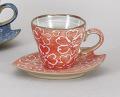 マット赤桜コーヒー碗皿