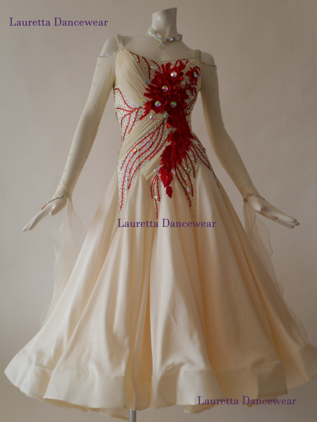 【社交ダンスドレス・衣装】スタンダード/モダン 高級仕様 バニラ/レッド ST20870 (M)