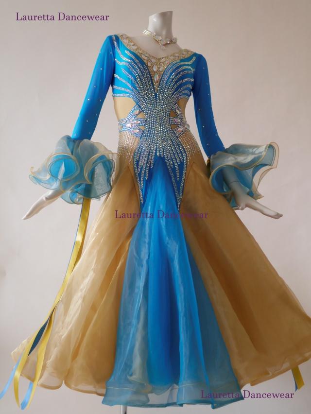 【社交ダンスドレス・衣装】スタンダード/モダン 高級仕様 ターコイズブルー/ゴールド ST20890(M)